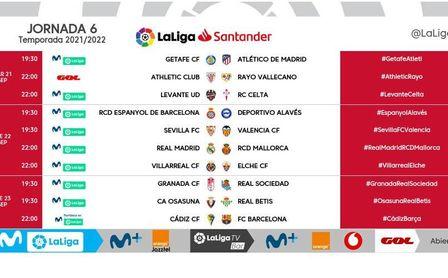 Días y horarios para el Sevilla en las jornadas 5, 6 y 7