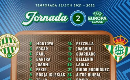 La lista del Betis para viajar a Hungría; vuelve Lainez, se cae Canales.