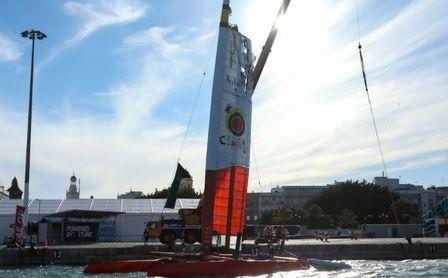 La tripulación española lamenta no haber podido concluir la prueba de Cádiz.